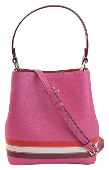 Item - Bucket C4080 Small Town In Colorblock with Stripe Confetti Pink Mango Multi Leather Cross Body Bag