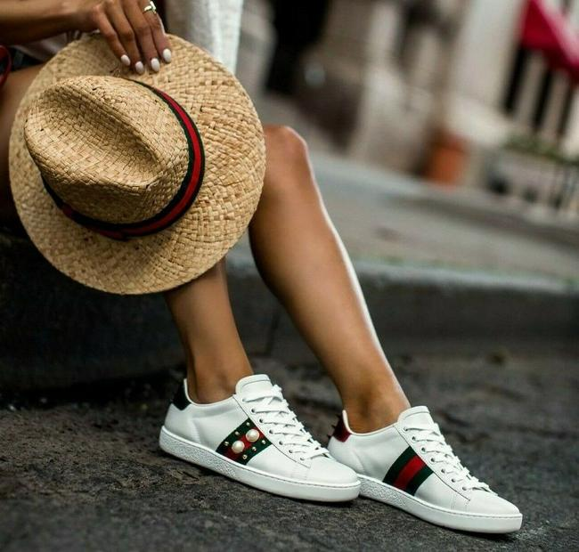 Item - White Green Ace Calfskin Web Pearl Studded Sneakers Leather Red Athletic Size US 7.5 Regular (M, B)