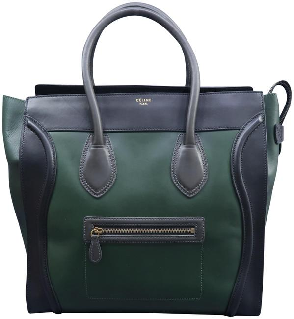 Item - Luggage Green & Black Calfskin Leather Tote