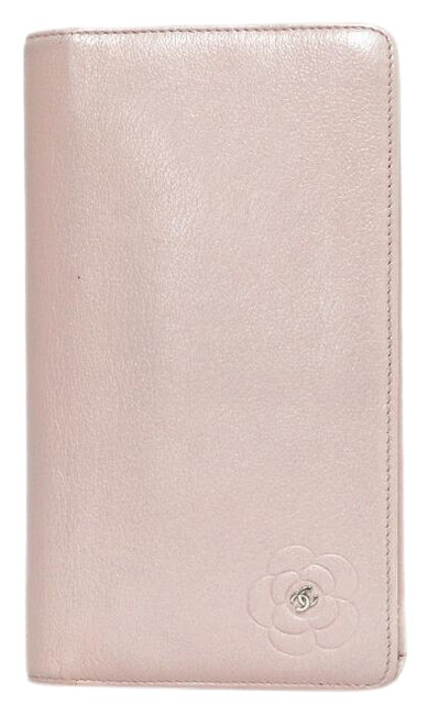 Item - Pink Long Butterfly Camellia Coco Cc Ladies Leather Wallet