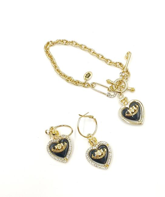 Item - Gold Rotating Heart with Crystals and Earrings Set Bracelet