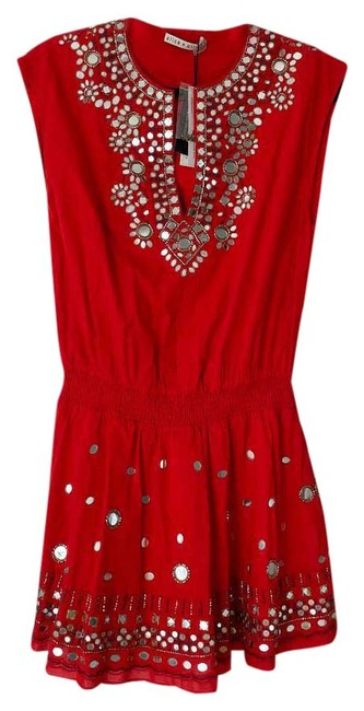 Item - Red Mini Pimmy Beaded Cotton Short Casual Dress Size 2 (XS)