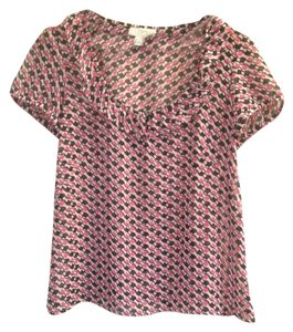 Ann Taylor LOFT Sheer Button Top Pink Black