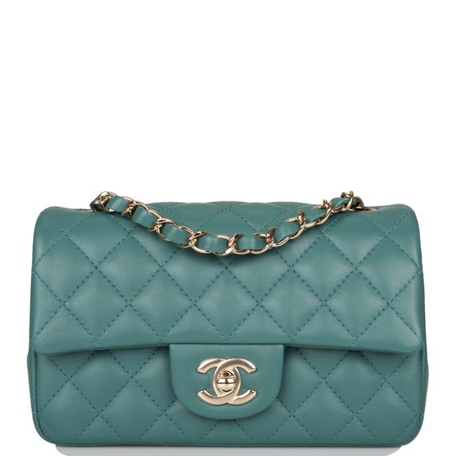 Item - Classic Flap Quilted Rectangular Mini Light Gold Green Lambskin Leather Shoulder Bag