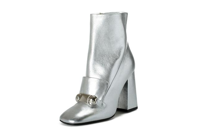 """Item - Silver Women's """"Brabant"""" Leather Heeled Boots/Booties Size US 7.5 Regular (M, B)"""