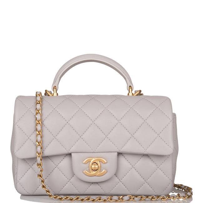 Item - Classic Flap with Top Handle Quilted Rectangular Mini Grey Lambskin Leather Cross Body Bag