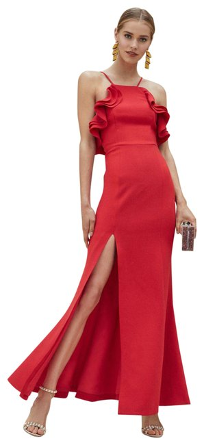 Item - Red Ruffle Cherry Gown Long Formal Dress Size 8 (M)