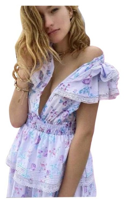 Item - Lilac and Pink Lou Double Ruffle Floral Short Casual Dress Size 4 (S)