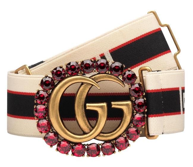 Item - Off White Navy Red Blue 95 Cm New Gg Stripe with Crystal Belt
