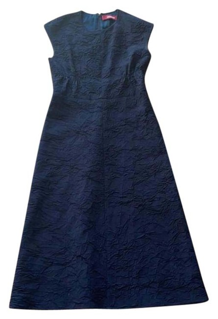Item - Navy Blue Textured Mid-length Formal Dress Size 6 (S)