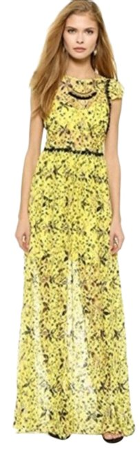 Item - Yellow Cherry Blossom Lace Long Casual Maxi Dress Size 4 (S)