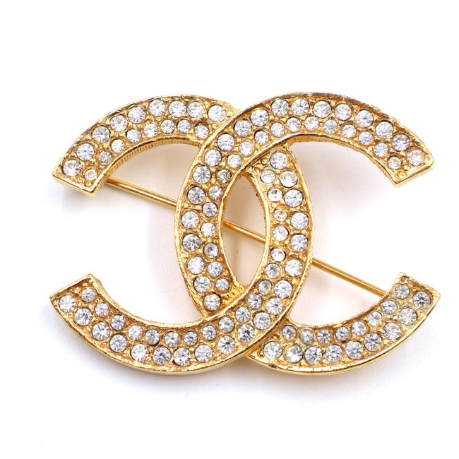 Item - #42713 Gold Timeless Cc Smoked Crystals Hardware Brooch Pin Charm