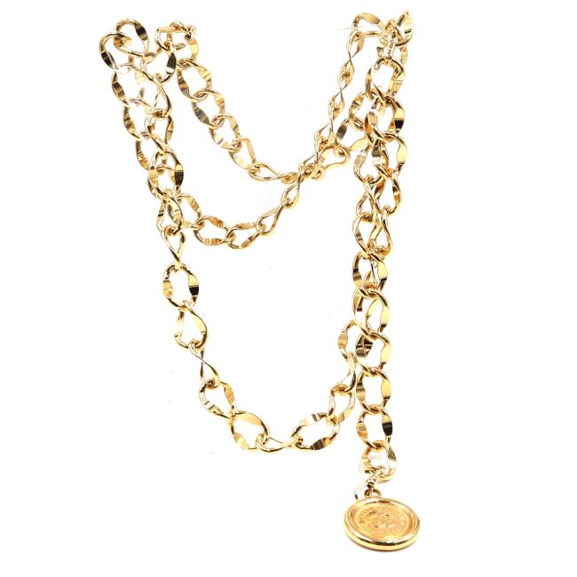 Item - #42717 Gold Cc Wide Double Chain Belt Two Way Medallion Charm Necklace
