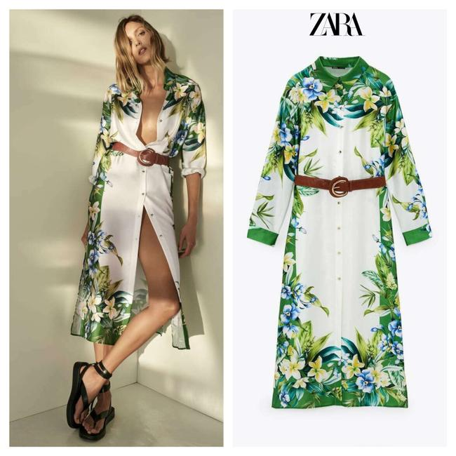 Item - Multicolored Belted Floral Shirt Midi Mid-length Casual Maxi Dress Size 12 (L)