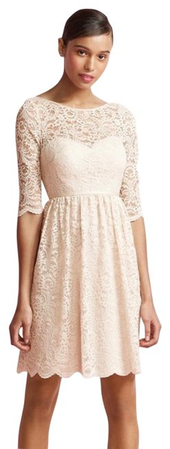 Item - Pink Marquis Lace Midi Scalloped Mid-length Cocktail Dress Size 12 (L)