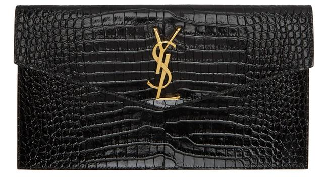 Item - Monogram Envelope Clutch New Embossed Pouch Purse Black Leather Tote