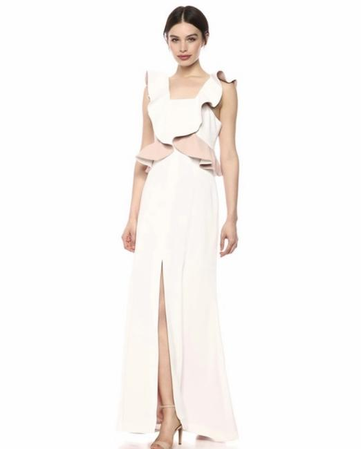 Item - White Elation Ruffle Gown Long Formal Dress Size 4 (S)