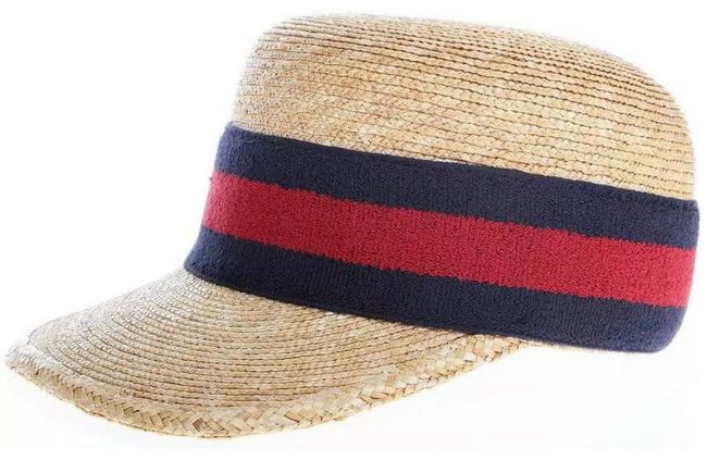 Item - Natural W Blue Red Web XS New Straw and Ball Visor Cap Sun 55/Xs Hat
