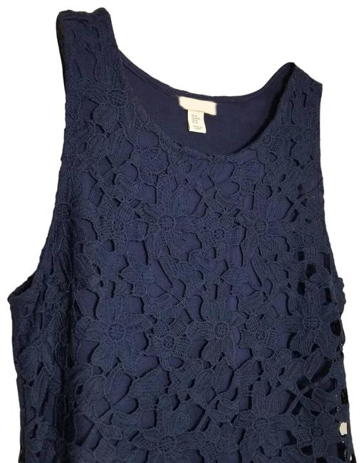Item - Blue Floral Lace Navy Lined M Tank Top/Cami Size 8 (M)