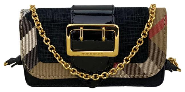 Item - Embossed Suede Patent Mini Phone Black/Gold B373 Black Gold Cowhide Leather Cross Body Bag