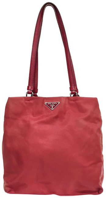 Item - Bag Vintage and Leather Red Nylon Tote
