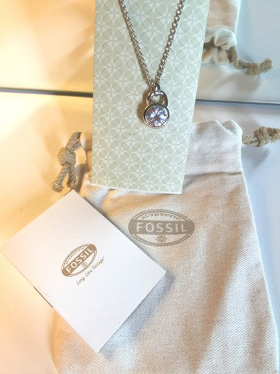 Fossil Nwt$100 Fossil Sterling Silver Large Crystal Padlock Pandent Necklace JF16852040