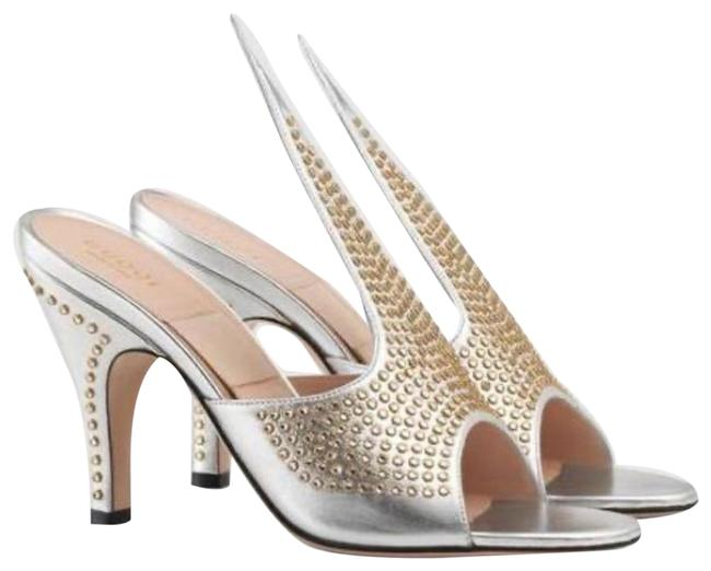 Item - Silver Exaggerated Point Crystal Sandals Size EU 36.5 (Approx. US 6.5) Regular (M, B)