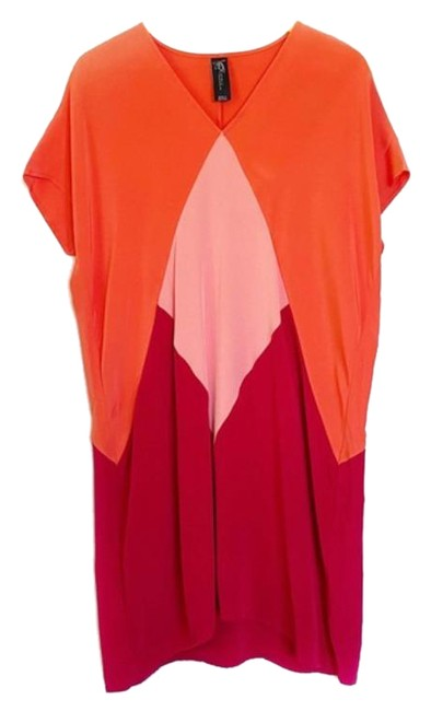 Item - Pink Red Color Block Tunic Short Casual Dress Size 2 (XS)
