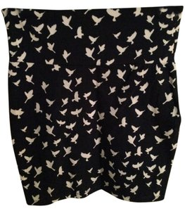 Charlotte Russe Dove Mini Stretchy Print Animal Print Birds Mini Skirt Navy blue, white