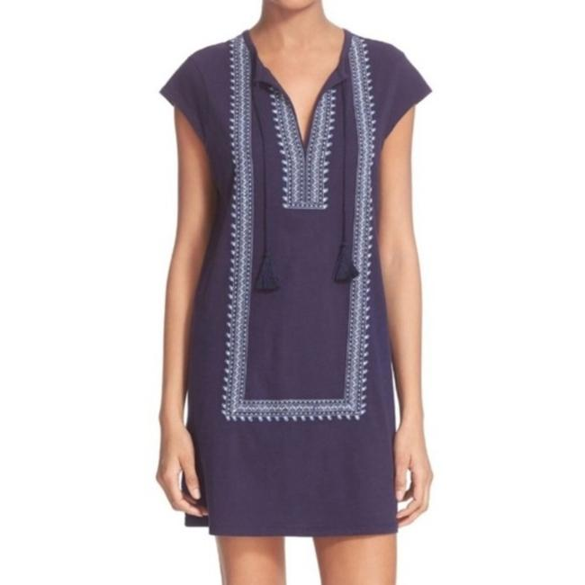 Item - Blue Yadon Embroidered Tunic Short Casual Dress Size 4 (S)