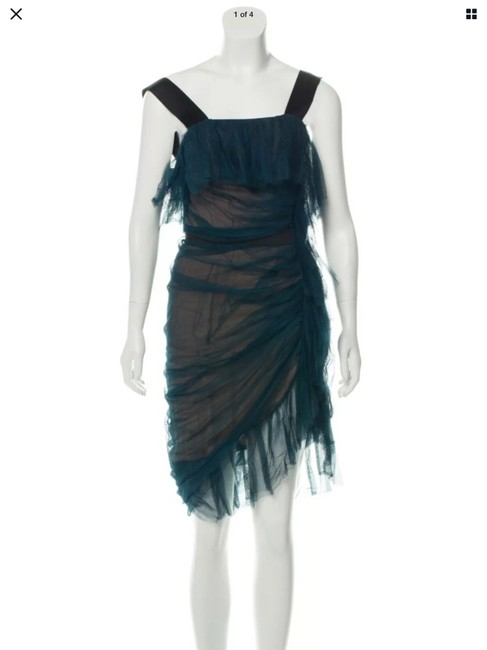 Item - Blue Nude Sheer Mesh Ruched Ruffles Tank Mid-length Cocktail Dress Size 4 (S)