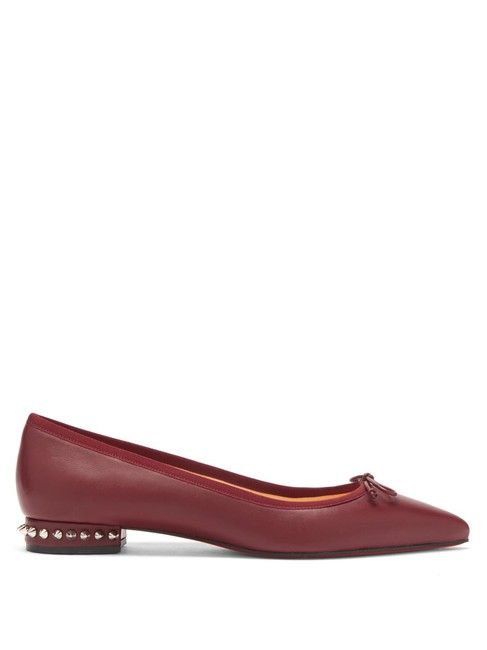 Item - Maroon Hall Spiked Studded Nappa Leather Pointed Toe Ballerina Flats Size EU 38 (Approx. US 8) Regular (M, B)