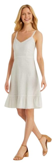 Item - White Collection Eyelet Flounce In Short Casual Dress Size 6 (S)