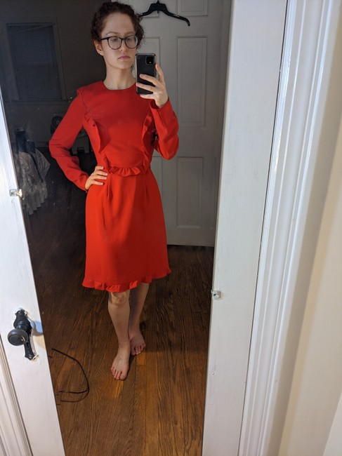 Item - Red Ruffle Modest Mid-length Cocktail Dress Size 4 (S)
