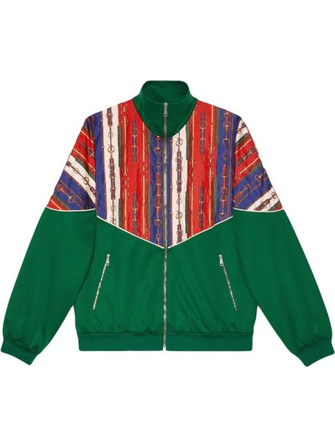 Item - Green and Red L Oversize Bi-material Jacket Size 12 (L)