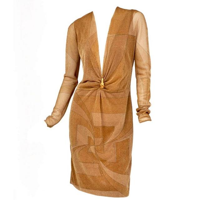 Item - Gold W Tom Ford For Vintage with Lion Brooch A / 2000 Mid-length Night Out Dress Size 4 (S)