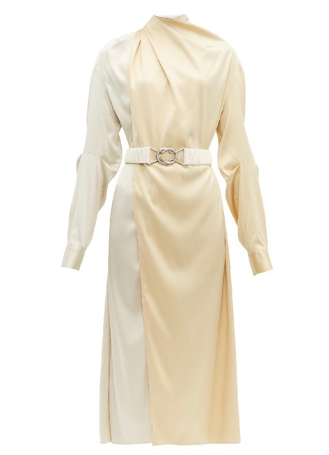 Item - Ivory Belted Two-tone Stretch-silk Satin Wrap In Mid-length Formal Dress Size 6 (S)