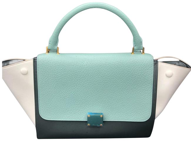 Item - Trapeze Small Teal Green Black Cream Leather Satchel