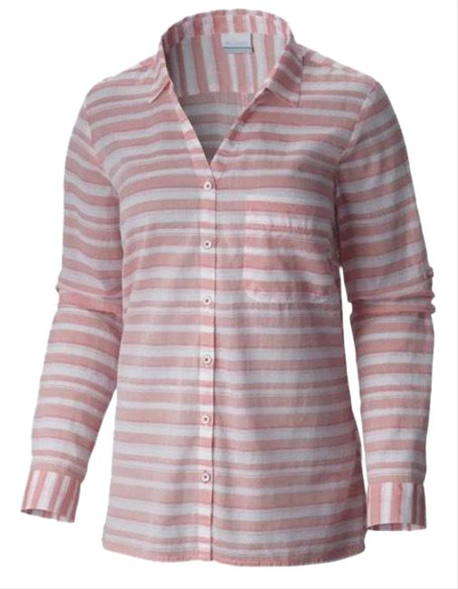 Item - Pink White Early Tide Striped Button Down Shirt Activewear Top Size 2 (XS)