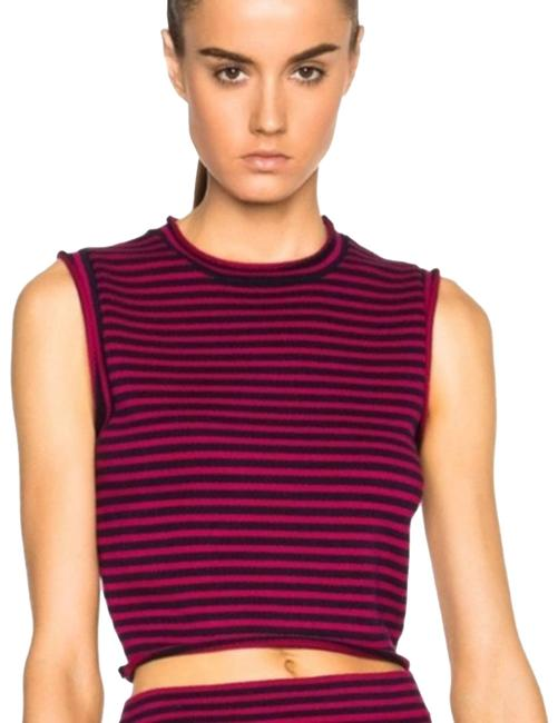 Item - Red L Striped Crop In Cherry & Navy Mid Riff Tank Large Blouse Size 12 (L)
