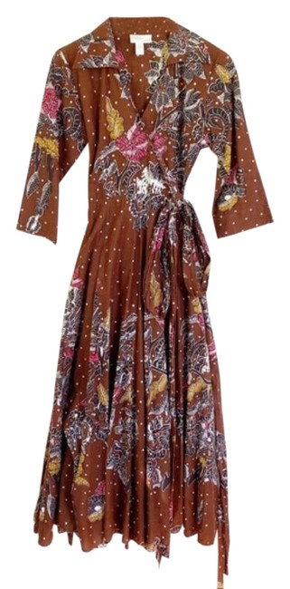 Item - Brown Pink Paisley Sequin Wrap Long Casual Maxi Dress Size 6 (S)
