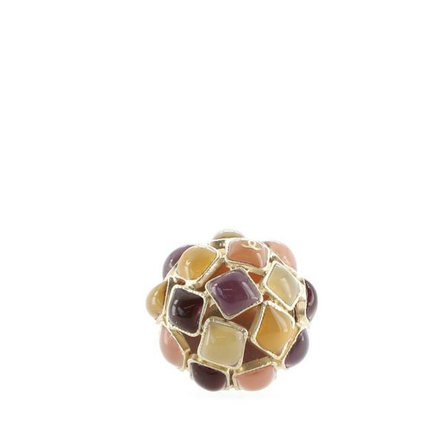 Item - Multi Color Gold Round Cluster Metal and Enamel Ring