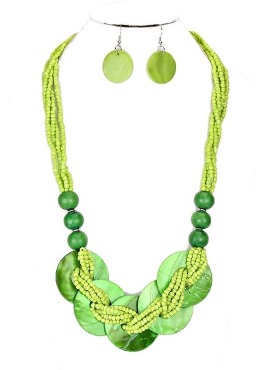 Other Boho Chic Multicolor Green Seed Bead Strands Bib Necklace Collar and Earring