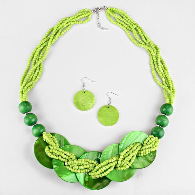 Boho Chic Multicolor Green Seed Bead Strands Bib Collar and Earring Necklace Boho Chic Multicolor Green Seed Bead Strands Bib Collar and Earring Necklace Image 2