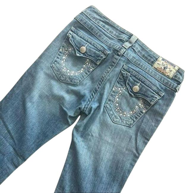 Item - Blue Light Wash Distressed Bling Boot Cut Jeans Size 30 (6, M)