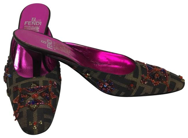 Item - Brown Monogram with Beaded Eembroidery Mules/Slides Size US 6 Regular (M, B)