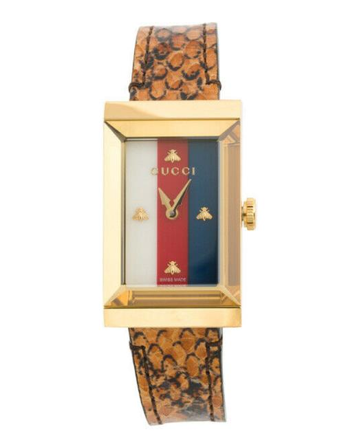 Item - Multicolor New Women's Swiss G-frame Bright Cuir Ayers Leather Strap Watch