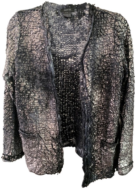 Item - Blue Grey Metallic Paint Silver Laminated Cashmere Sweater S Cardigan Size 6 (S)