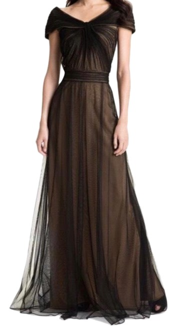 Item - Cap Sleeve Tulle Overlay Gown Long Formal Dress Size 6 (S)