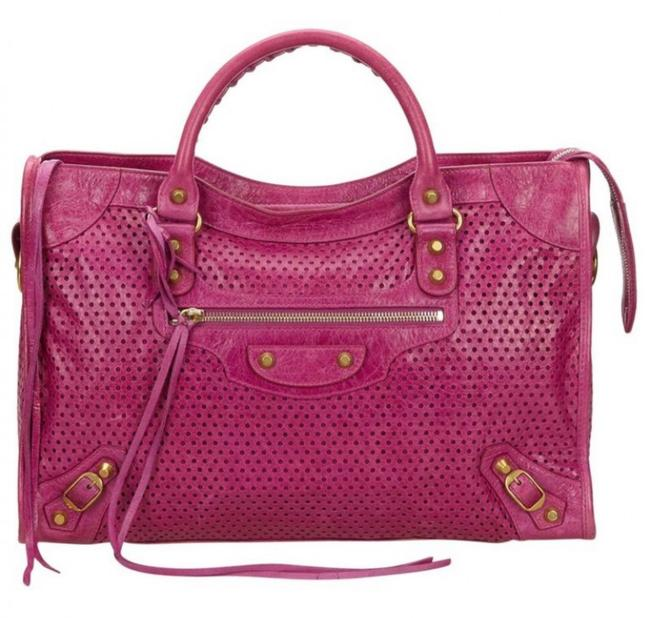 Item - Limited Edition Perforated Work Tote Pink Gold Lambskin Leather Satchel